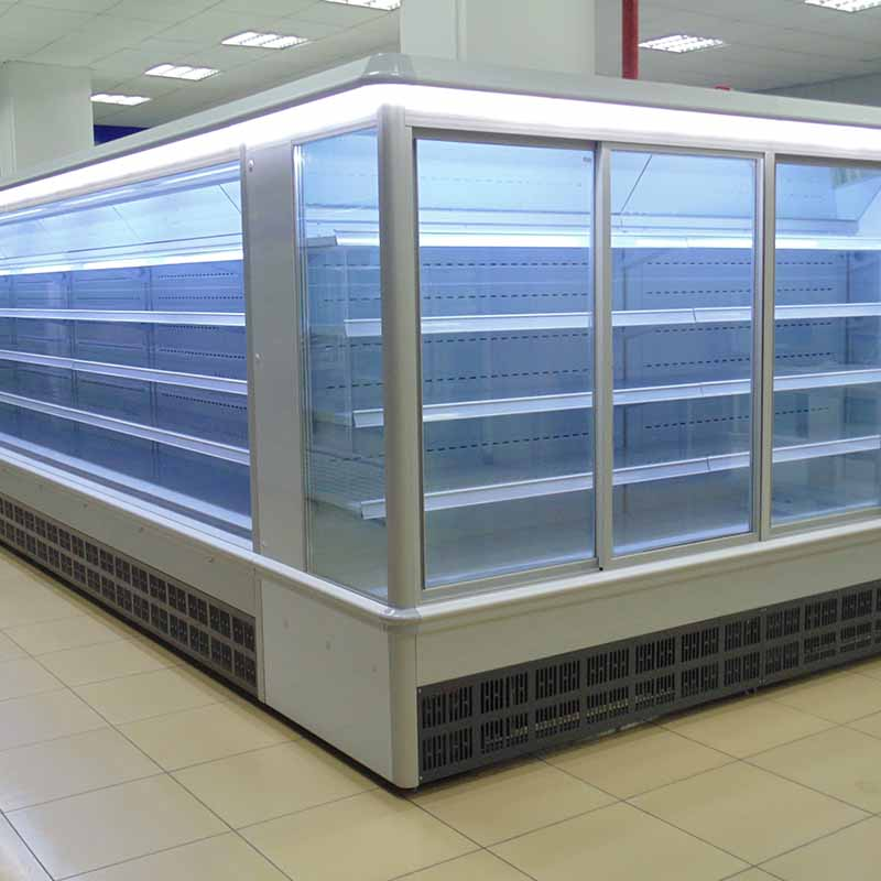 Freely Combinable Supermarket Refrigerator with Tempered Insulated Sliding Glass Door