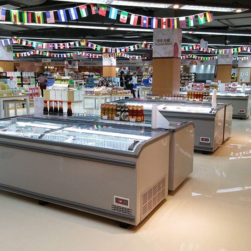High Quality Supermarket Island Freezer for Display And Sale with Top Open Sliding Doors